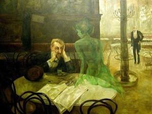[dipinto di Viktor Oliva - Absinthe Drinker]